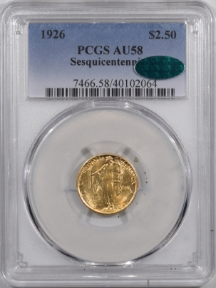 $2.50 1926 $2.50 SESQUICENTENNIAL GOLD – PCGS AU-58, CAC APPROVED! PQ & LOOKS MS-63!