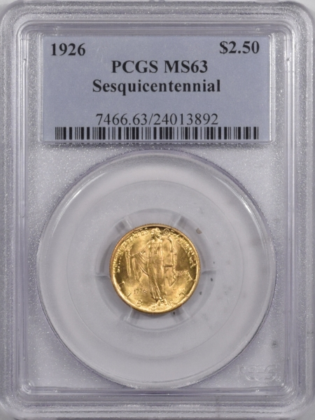 New Certified Coins 1926 $2.50 SESQUICENTENNIAL GOLD – PCGS MS-63, LUSTROUS & PREMIUM QUALITY!