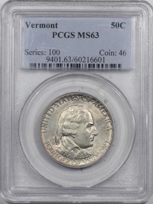 New Certified Coins 1927 VERMONT COMMEMORATIVE HALF DOLLAR – PCGS MS-63 ORIGINAL!