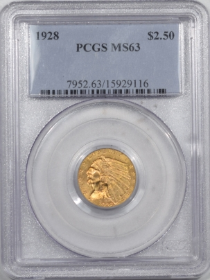 $2.50 1928 $2.50 INDIAN HEAD GOLD – PCGS MS-63 FLASHY & PREMIUM QUALITY!