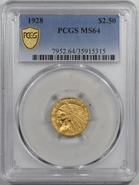 New Certified Coins 1928 $2.50 INDIAN GOLD – PCGS MS-64 FLASHY!