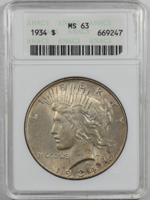 New Certified Coins 1934 PEACE DOLLAR – ANACS MS-63, FRESH! ORIGINAL!