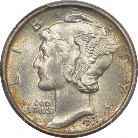 Mercury Dimes 1934 MERCURY DIME – PCGS MS-67+FB, SUPERB & PREMIUM QUALITY!