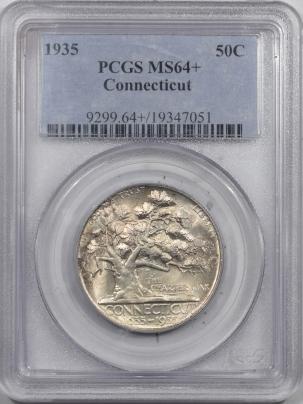 New Certified Coins 1935 CONNECTICUT COMMEMORATIVE HALF DOLLAR – PCGS MS-64+ FRESH & GEM!