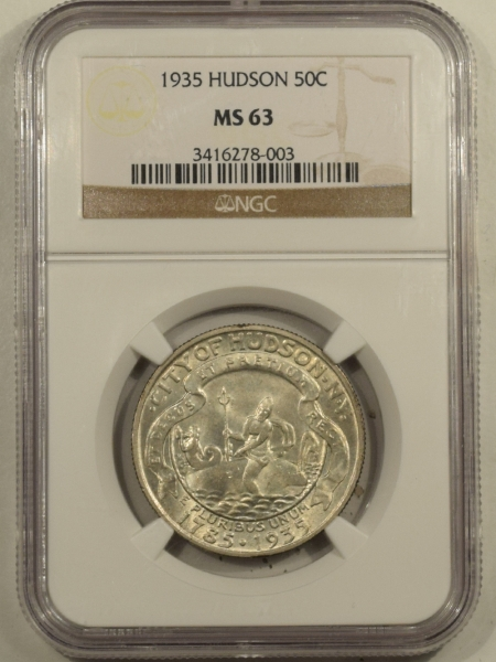 New Certified Coins 1935 HUDSON COMMEMORATIVE HALF DOLLAR – NGC MS-63 FRESH!
