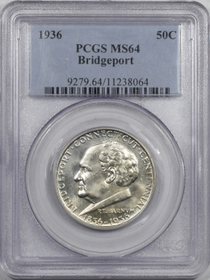 New Certified Coins 1936 BRIDGEPORT COMMEMORATIVE HALF DOLLAR – PCGS MS-64 BLAST WHITE!