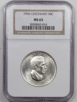 New Certified Coins 1936 CINCINNATI COMMEMORATIVE HALF DOLLAR – NGC MS-65 FRESH GEM!