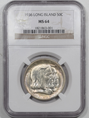 New Certified Coins 1936 LONG ISLAND COMMEMORATIVE HALF DOLLAR – NGC MS-64