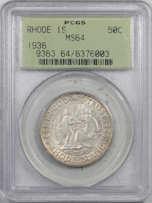 New Certified Coins 1936 RHODE ISLAND COMMEMORATIVE HALF DOLLAR – PCGS MS-64 OGH & PREMIUM QUALITY!