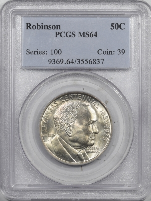 New Certified Coins 1936 ROBINSON COMMEMORATIVE HALF DOLLAR – PCGS MS-64 FLASHY!