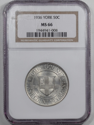 New Certified Coins 1936 YORK COMMEMORATIVE HALF DOLLAR – NGC MS-66