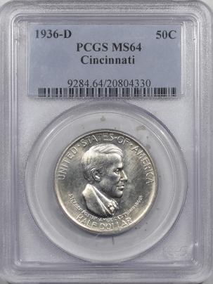 New Certified Coins 1936-D CINCINNATI COMMEMORATIVE HALF DOLLAR – PCGS MS-64 FLASHY!