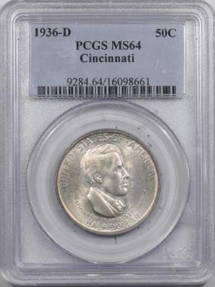 New Certified Coins 1936-D CINCINNATI COMMEM HALF DOLLAR – PCGS MS-64 FRESH & PREMIUM QUALITY!
