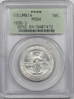 New Certified Coins 1936-D COLUMBIA COMMEMORATIVE HALF DOLLAR – PCGS MS-64 OGH & PREMIUM QUALITY!
