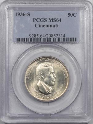 New Certified Coins 1936-S CINCINNATI COMMEMORATIVE HALF DOLLAR – PCGS MS-64 FRESH!