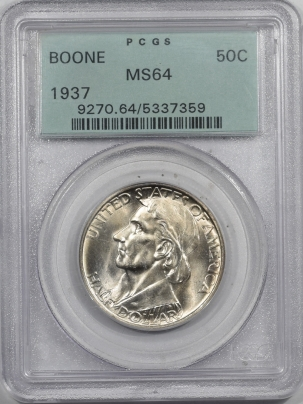 New Certified Coins 1937 BOONE COMMEMORATIVE HALF DOLLAR – PCGS MS-64 OGH & PREMIUM QUALITY!