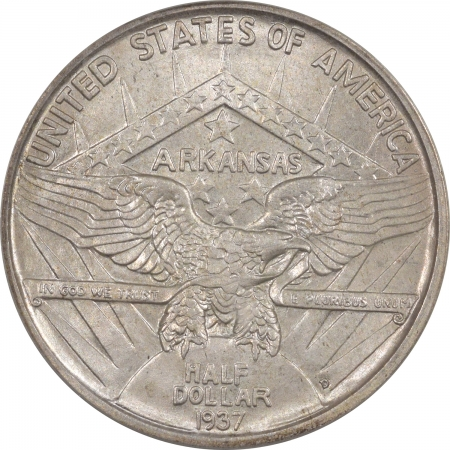 New Certified Coins 1937-D ARKANSAS COMMEMORATIVE HALF DOLLAR – PCGS MS-64 OGH, PREMIUM QUALITY!