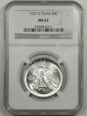 New Certified Coins 1937-D TEXAS COMMEMORATIVE HALF DOLLAR – NGC MS-67 BLAZING WHITE HEADLIGHT!
