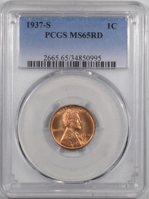 Lincoln Cents (Wheat) 1937-S LINCOLN CENT – PCGS MS-65 RD