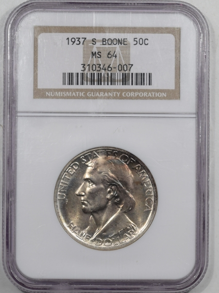 New Certified Coins 1937-S BOONE COMMEMORATIVE HALF DOLLAR – NGC MS-64