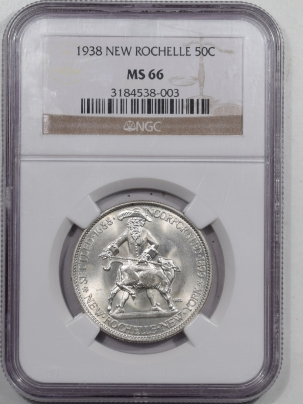 New Certified Coins 1938 NEW ROCHELLE COMMEMORATIVE HALF DOLLAR – NGC MS-66 WHITE & FLASHY!