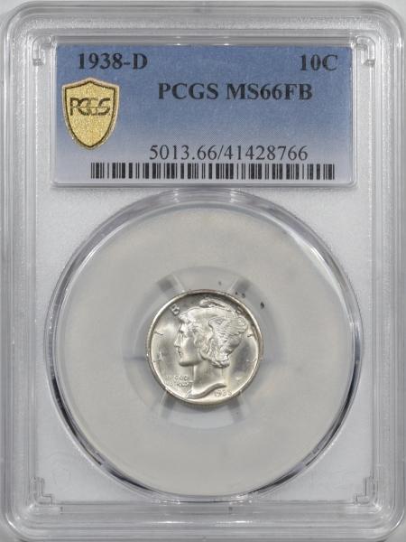 New Certified Coins 1938-D MERCURY DIME – PCGS MS-66 FB, PREMIUM QUALITY! LOOKS MS-67!