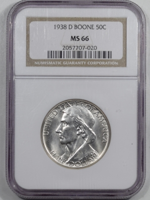New Certified Coins 1938-D BOONE COMMEMORATIVE HALF DOLLAR – NGC MS-66 WHITE!