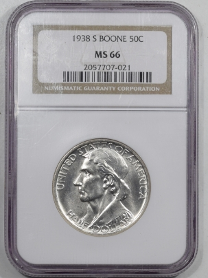 New Certified Coins 1938-S BOONE COMMEMORATIVE HALF DOLLAR – NGC MS-66 SUPERB & NEARLY PL!