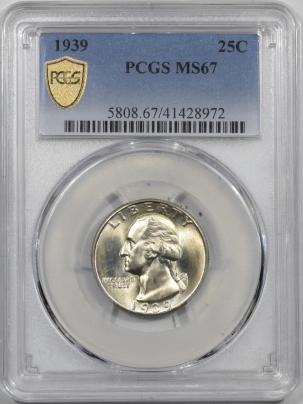 New Certified Coins 1939 WASHINGTON QUARTER PCGS MS-67, ORIGINAL FRESH WHITE & PQ!