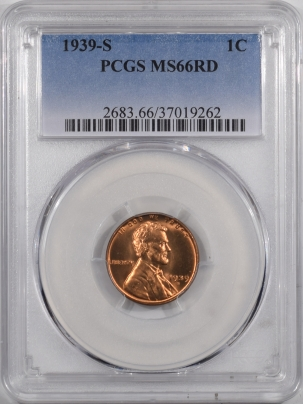Lincoln Cents (Wheat) 1939-S LINCOLN CENT – PCGS MS-66 RD