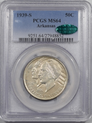 CAC Approved Coins 1939-S ARKANSAS COMMEMORATIVE HALF DOLLAR – PCGS MS-64 PQ! & CAC APPROVED!