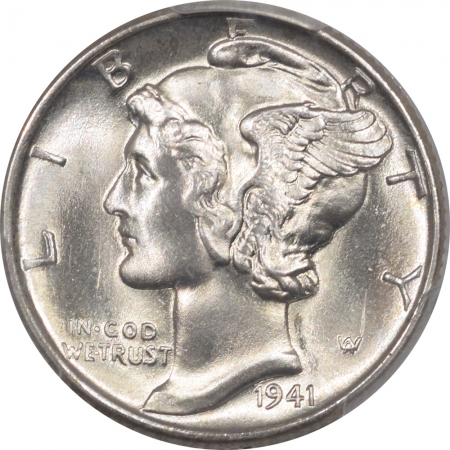 New Certified Coins 1941 MERCURY DIME – PCGS MS-66 FB, SUPER PREMIUM QUALITY! LOOKS MS-67+!