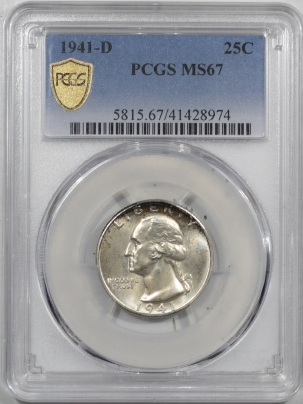 New Certified Coins 1941-D WASHINGTON QUARTER PCGS MS-67, SUPERB & PQ!