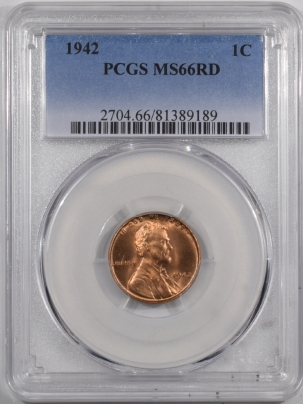 Lincoln Cents (Wheat) 1942 LINCOLN CENT – PCGS MS-66 RD