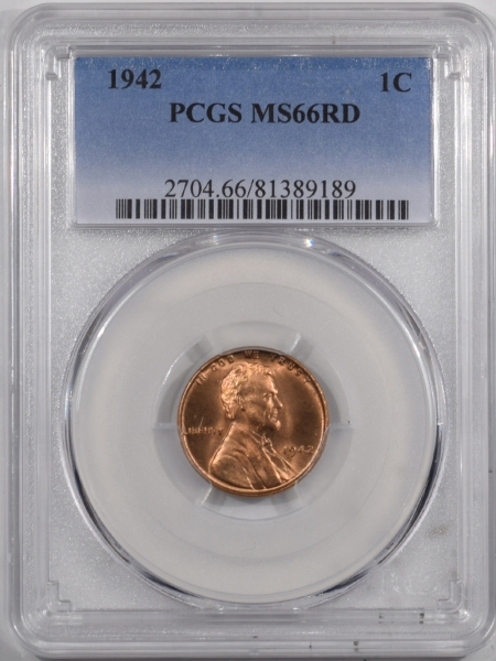 New Certified Coins 1942 LINCOLN CENT – PCGS MS-66 RD