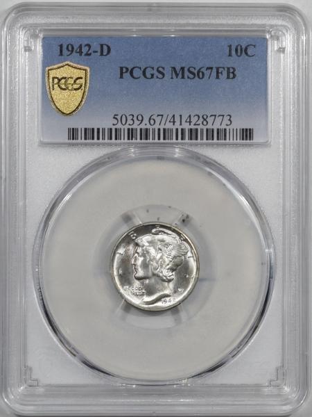 New Certified Coins 1942-D MERCURY DIME PCGS MS-67 FB, SUPER FRESH & PRISTINE!