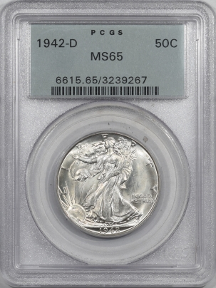 New Certified Coins 1942-D WALKING LIBERTY HALF DOLLAR – PCGS MS-65 LUSTROUS, FRESH, OGH & PQ!