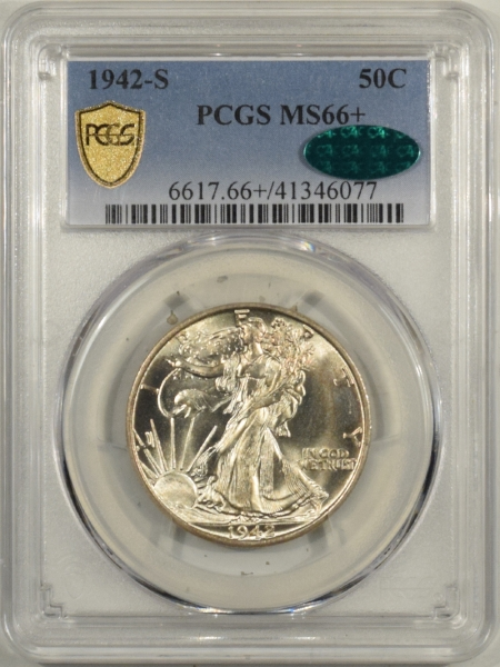 New Certified Coins 1942-S WALKING LIBERTY HALF DOLLAR PCGS MS-66+ CAC SPARKLING GEM & SUPERB, TOUGH