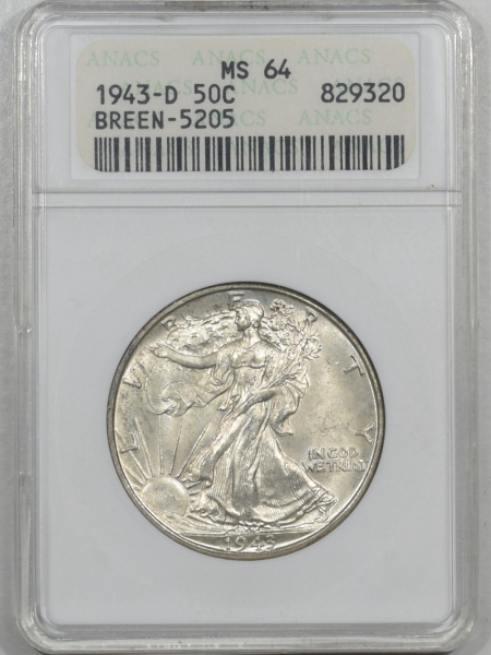 New Certified Coins 1943-D WALKING LIBERTY HALF DOLLAR – ANACS MS-64, DOUBLE DIE OBVERSE! BREEN-5205