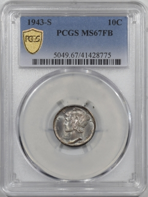 U.S. Certified Coins 1943-S MERCURY DIME PCGS MS-67 FB, PQ & REALLY PRETTY!!