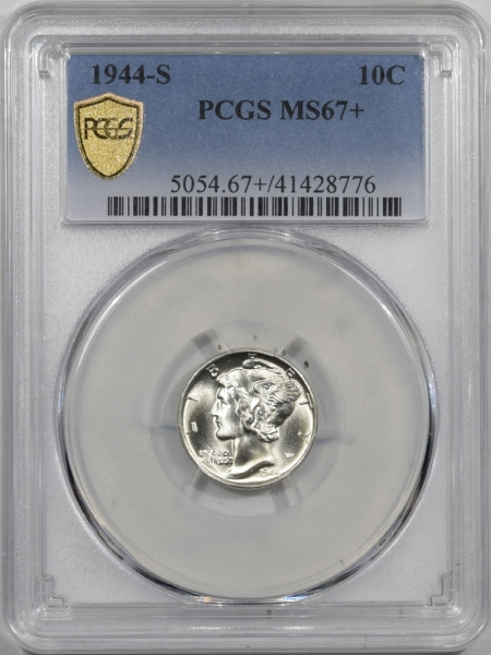 New Certified Coins 1944-S MERCURY DIME PCGS MS-67+ SUPERB, ONLY 6 GRADED HIGHER, NEAR FB