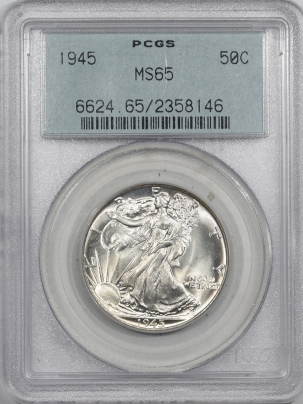 New Certified Coins 1945 WALKING LIBERTY HALF DOLLAR -PCGS MS-65, 66+ QUALITY, OGH, PREMIUM QUALITY!