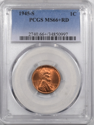 Lincoln Cents (Wheat) 1945-S LINCOLN CENT – PCGS MS-66+ RD LOOKS 67, PREMIUM QUALITY!