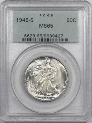 New Certified Coins 1946-S WALKING LIBERTY HALF DOLLAR-PCGS MS-65, 66 QUALITY, OGH, PREMIUM QUALITY!