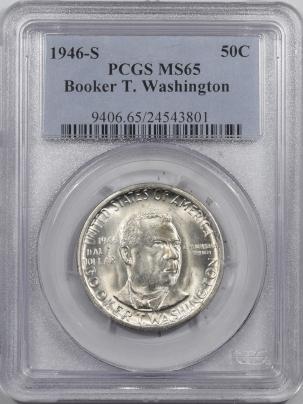 New Certified Coins 1946-S BOOKER T WASHINGTON COMMEM HALF DOLLAR – PCGS MS-65 BLAST WHITE!