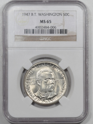 New Certified Coins 1947 BOOKER T WASHINGTON COMMEMORATIVE HALF DOLLAR – NGC MS-65 BLAST WHITE!
