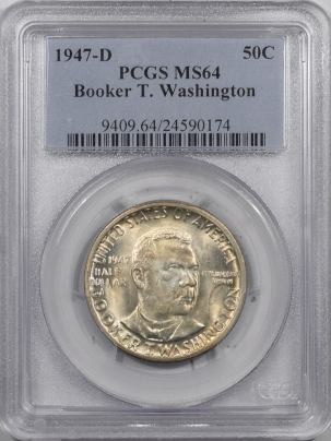 New Certified Coins 1947-D BOOKER T WASHINGTON COMMEMORATIVE HALF DOLLAR – PCGS MS-64
