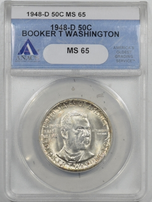 New Certified Coins 1948-D BOOKER T WASHINGTON COMMEMORATIVE HALF DOLLAR – ANACS MS-65 PQ! FRESH!
