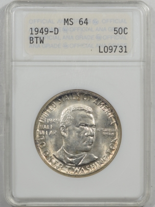 New Certified Coins 1949-D BTW COMMEMORATIVE HALF DOLLAR – ANACS MS-64 PREMIUM QUALITY!