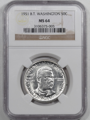 New Certified Coins 1951 BOOKER T WASHINGTON COMMEMORATIVE HALF DOLLAR – NGC MS-64